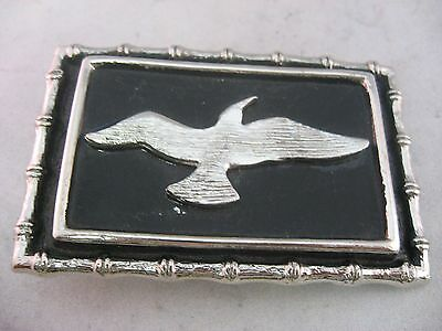 Vintage Mens Belt Buckle: Great Design BIRD ~ Bamboo Style Borders ~