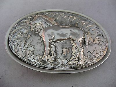 Vintage Mens Belt Buckle: Silver Tone HORSE Fancy Border ~ Some Wear ~