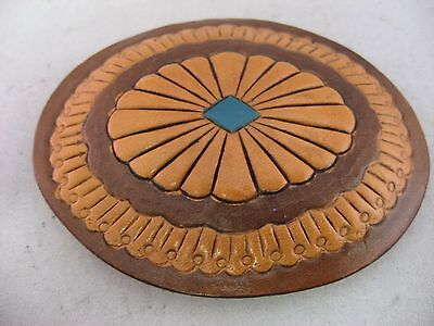 Vintage Mens Belt Buckle: AMAZING LEATHER DESIGN
