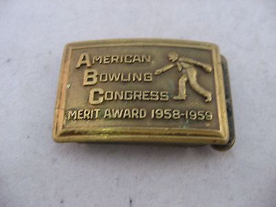 Vintage Mens Belt Buckle: AMERICAN BOWLING CONGRESS 1959 Merit Award 721 Pins