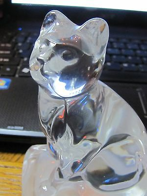 Lovely Lead Crystal Sitting Cat on His Pillow by Cristal D'Arques France