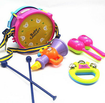New 5 Pcs Kids Childrens Toys Junior Musical Instrument Band Drum Kits Set Gift