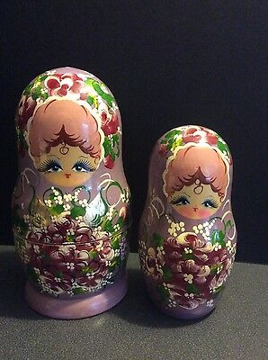 "Signed Russian Nesting Dolls Matryoshka Babushka Stacking Purple Gold Leaf 8"" 6"""