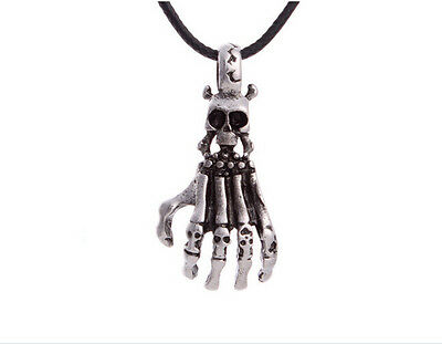 Free shipping HOT 316L Stainless Steel Skull Hand Pendant Necklace XP0089B