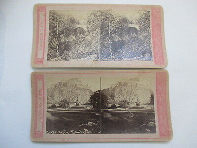 2 Antique Vtg Stereoview European Views Castle Rock Edinburgh, Old Bridge Carry?