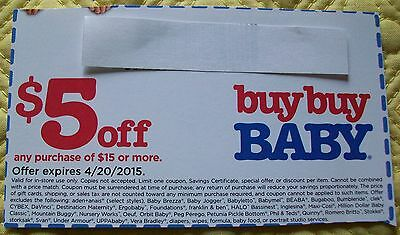 BUY BUY BABY COUPON,  $5 OFF-EXPIRE 4/20/15