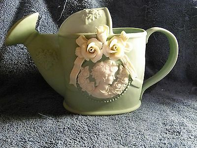 """BLUE CERAMIC WATERING CAN PITCHER WITH ROSES AND CAMEO 5 3/4"""" TALL"""