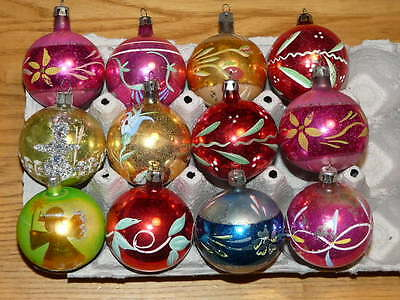 12 Vintage Glass Christmas Hand Painted Ornaments +- 2'' inches diameter