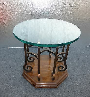 Vintage Drexel SPANISH Style END TABLE Mid-Century Glass Top Wrought Iron Wood