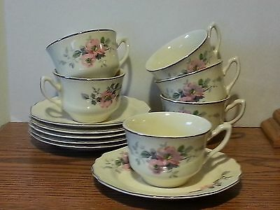 Vintage LIDO W.S. George Canarytone Floral cup and saucer (6) ~Scalloped Edge