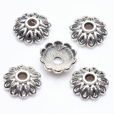 50pcs Tibet silver Beauty Flower Engrave Bead Caps Charm Beads Cap Jewelry DIY