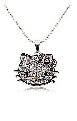 Hello Kitty Austrian Crystal Necklace White Gold Plated Pink Bow 16.5""