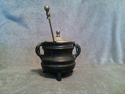 Primitive fire starter cast iron pot w/solid brass lid, handle & lifting handle