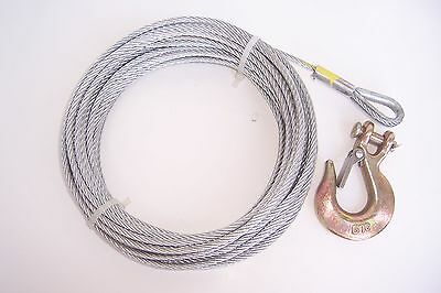 "3/16"" x 50 ft Galvanized Wire Rope Winch Cable + 1/4"" Grade 70 Clevis Slip Hook"