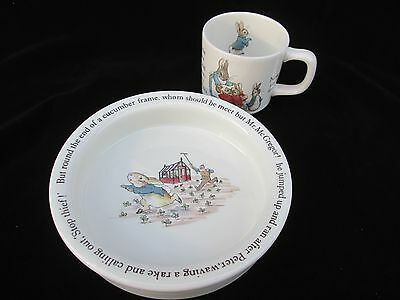 WEDGWOOD England Child's Beatrix Potter's Peter Rabbit, Bowl & Cup Heirloom Gift