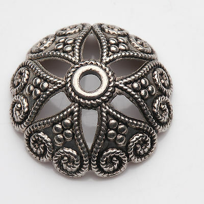 5pcs Tibet silver Arch Flower Engrave Bead Caps Charm Beads Cap Jewelry 20x7mm