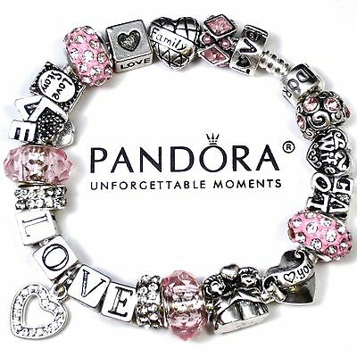 Authentic Pandora Sterling Silver Bracelet w/ Pink LOVE Crystal Heart Charm Bead