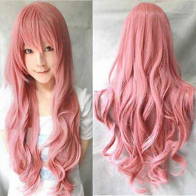 Pink 80cm Long Curly Cosplay Costume Party Hair Anime Wigs Full Hair Wavy Wig