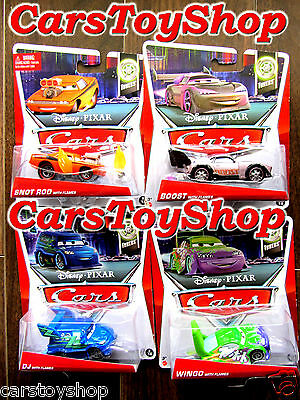 Disney Pixar Cars Wingo Boost Snot Rod DJ with Flames Tuners Toy Diecast Lot Set