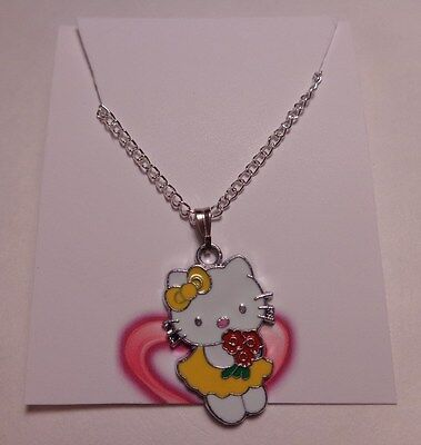 "Hello Kitty Style Hanging Pendant Necklace Yellow Dress Red Roses 16"" Chain NEW"