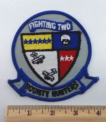 FIGHTING TWO BOUNTY HUNTERS US Navy Vtg Patch Skull Airplanes Military