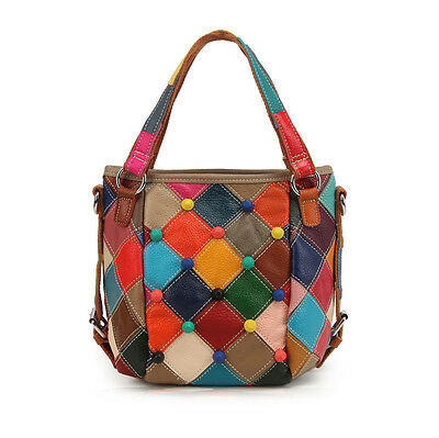New 2015 Fashion Womens Handbag Genuine Leather cow Leather Patchwork Bag