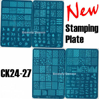 NEW 4pcs XL Full Nail Anime Stamping Plate Stamp Print Transfer Template CK24-27