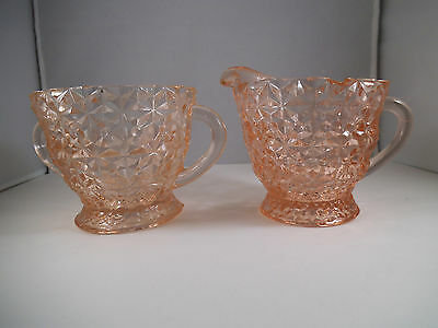 Vintage Jeannette Glass Pink Holiday Buttons & Bows Sugar Bowl & Creamer