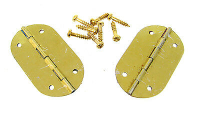 2pc. Small Oval Brass-plated Hinges - Great for smaller boxes & crafts