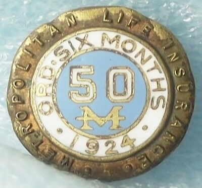 1924 Metropolitan Life Insurance Pin Manufactured By Robert Stoll Co., New York