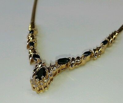 1.32 CT NATURAL DIAMOND AND SAPPHIRE VINTAGE ESTATE 14K SOLID GOLD NECKLACE