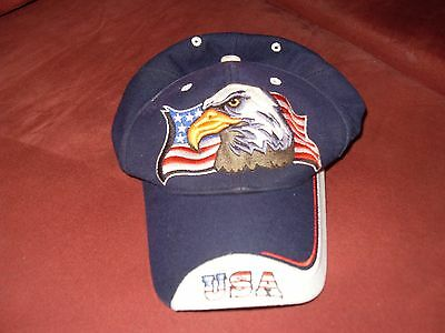Embroidered USA American Flag and Eagle baseball hat OS velcro closure navy blue