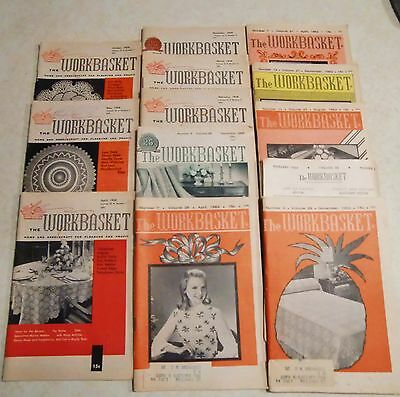 13 VTG 1958-63 WORKBASKET Home Art Magazines Sewing Crochet Needlework RECIPES