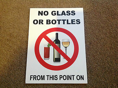 No Glass Or Bottles From This Point On Pub Bar Swimming Pool A4 Vinyl Waterproof