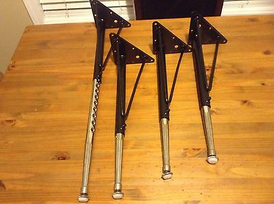 "Black & Chrome Adjustable (18.5"" to 28.5"") Table Legs, Set of 4,"