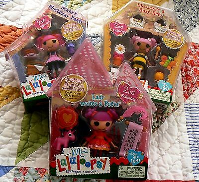 3 MINI LALALOOPSY Girl Dolls  Lady - Berry - Blossom 2nd Edition w/ Accessories