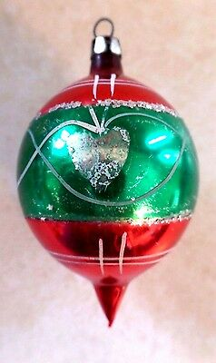 Vintage Green & Red Elongated Drop Shaped Glass Christmas Tree Ornament