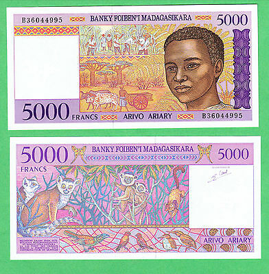 Madagascar 5,000 Francs Note P-78  CHOICE ABOUT UNCIRCULATED
