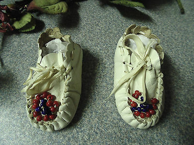 Antique Custom Baby & Toddler Girls Native American White Moccasins, Leather