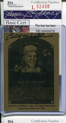 JSA Authentic Signed Hall Of Fame Billy Williams Auto Plaque Metallic Metal