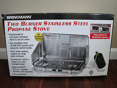 NEW Brinkmann Stainless Steel 2 Propane Burner Camp Stove