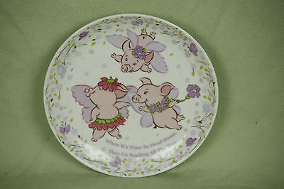 The Piggy Story Plate Child Dish Flying Pig Butterfly Animal Flower 6 1/2 inch