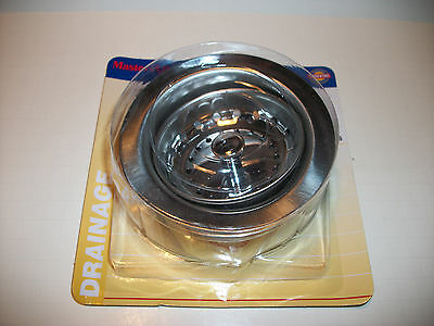 "Sink Strainer Basket Drain Combo Kitchen Fits 3-1/2"" Dia Sink Holes Chrome"