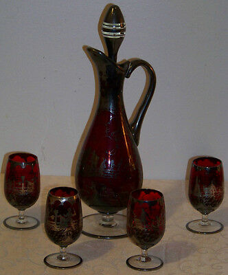Vintage Ruby Glass with Silver Overlay Decanter and 4 Glasses
