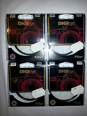 DIGIeye UV FILTERS 3-72MM FILTERS, 1-77mm FILTER LOT OF 4 BRAND NEW FILTERS!!!