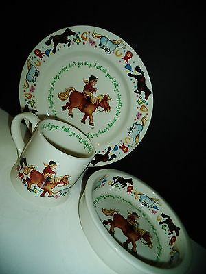 ANDERTON POTTERY ENGLAND CLIPPETTY-CLOP CHILDRENS POTTERY 3 PIECE DISH SET