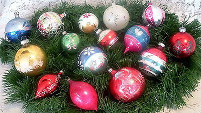 15 ANTIQUE VTG POLAND/US OF A/USA MERCURY GLASS  BALL TEARDROP ORNAMENTS Sm Med