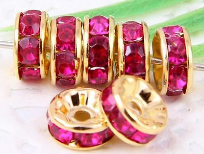 100Pcs Gold Plated Acrylic Crystals Spacer Bead 8mm Rose