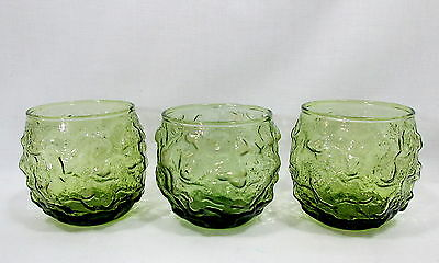 3 Anchor Hocking Lido Milano Roly Poly Tumblers Avocado Green Cups Rocks Juice