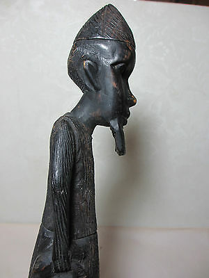 Wood Carving Tall Man Chin Beard Carrying a Fish Not Old Specific Decorator Item